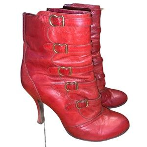 Marc Jacob Red Victorian Buckle Booties Size 38